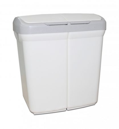 Meliconi ECOBIN műanyag két rekeszes szelektív szemetes 50l, fehér, szürke